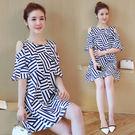 【GZ22】年夏季新款韓版大碼女裝胖MM寬鬆顯瘦印花露肩連身裙洋裝9885