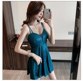 VK精品服飾 韓國風性感深V領低胸露背吊帶閃閃無袖洋裝