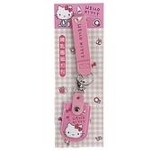 小禮堂 Hello Kitty 皮質扣式鑰匙包 附腕繩 遙控器包 磁扣包 零錢包 鑰匙圈 (粉 大臉) 4713791-95328