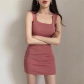 韓國夏新款無袖時尚修身針織連身裙包臀打底短裙緊身百搭背心裙女 貝芙莉