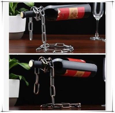 創意酒瓶架  鐵鏈條懸浮紅酒架【藍星居家】
