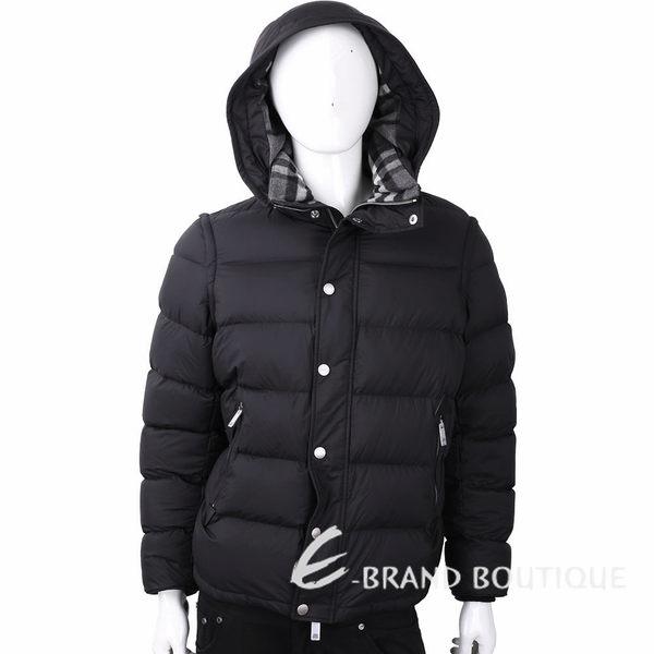 BURBERRY 袖可拆兩穿黑色絎縫連帽羽絨外套 1810122-01