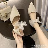 尖頭單鞋女春季新款蝴蝶結仙女風中跟粗跟網紅羅馬高跟涼鞋女 聖誕節免運