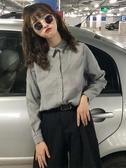 Polo衫秋季新款韓版純色寬鬆長袖襯衫外套休閒百搭polo領上衣女春季特賣