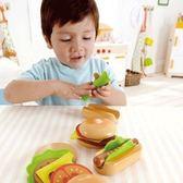 【德國 Hape 愛傑卡】角色扮演-主廚漢堡&熱狗←積木 木製 教具 推車 彌月禮盒 15合1 拼圖