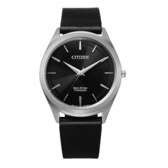 CITIZEN GENT'S光動能鈦金屬職場時尚腕錶-黑X銀