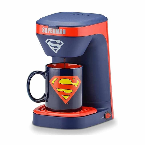 DC Superman 單人咖啡機 - 超人 DCS-123CN 附12盎司馬克杯 [2美國直購]