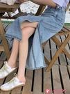 牛仔長裙 牛仔半身裙2021春款中長款高腰開叉設計感長裙a字包臀裙子女夏季 小天使