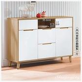 【水晶晶家具/傢俱首選】CX1518-5 肯詩特3.6呎木心板烤白雙色碗盤櫃