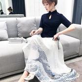 洋裝 旗袍改良版漢服女唐裝上衣復古民國風鏤空女裝民族風套裝連身裙 korea嚴選