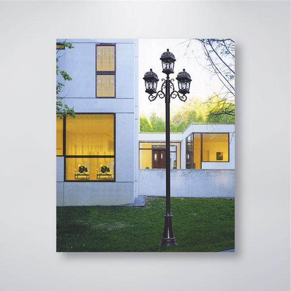 壓花圖騰戶外庭園燈 三燈防水型 可客製化 可搭配LED