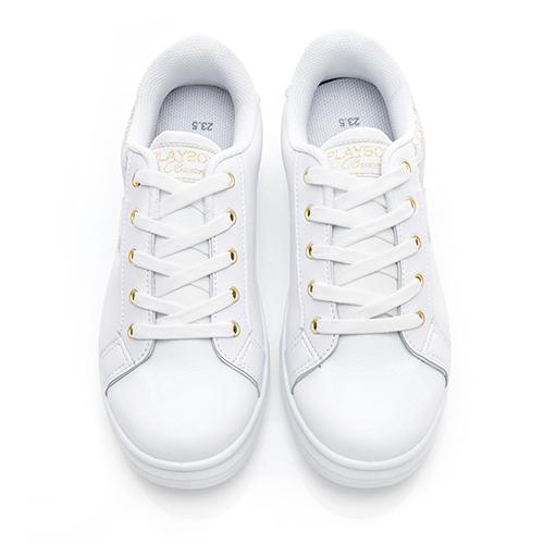 PLAYBOY 幾何圖案 仿皮綁帶休閒鞋-白金(Y5215)