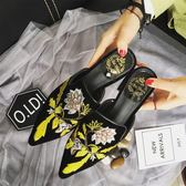 春季新款懶人鞋高端肯豆金絲絨尖頭復古平底拖鞋刺繡花女拖鞋 蒂小屋服飾