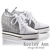 ★2015春夏★Keeley Ann 街頭韓版~鑲珠亮面全真皮內增高休閒鞋(白色)