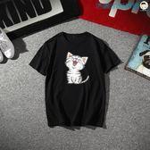 雙十二狂歡潮流小貓短袖t恤男裝圓領純棉寬鬆【洛麗的雜貨鋪】