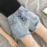 韓版顯瘦破洞高腰短褲直筒牛仔褲女寬鬆闊腿褲【極簡生活館】