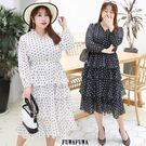 (現貨+預購FUWAFUWA)-加大尺碼圓點蛋糕裙長袖洋裝
