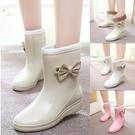 中筒雨鞋 新款雨鞋女日韓時尚雨靴可愛蝴蝶結加絨中筒水鞋套鞋膠鞋 維多原創