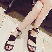 【優選】歐平底綁帶羅馬繫帶涼鞋真皮女鞋磨砂皮