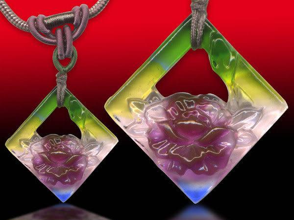 鹿港窯~居家開運水晶琉璃項鍊~花開富貴◆附精美包裝◆免運費送到家