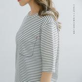 T恤   假口袋刺繡條紋棉T   二色原單-小C館日系