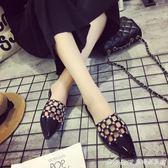 拖鞋  夏季新款韓版尖頭涼拖外穿包頭平底鏤空半拖鞋女無后跟懶人鞋  艾美時尚衣櫥