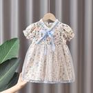 女童洋裝 女童夏裝碎花連身裙兒童夏季公主裙3女寶寶洋氣時髦花邊領網紗裙5