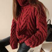 梨卡 - 秋冬氣質甜美純色寬鬆中長版舒適高領保暖毛衣針織衫上衣BR136