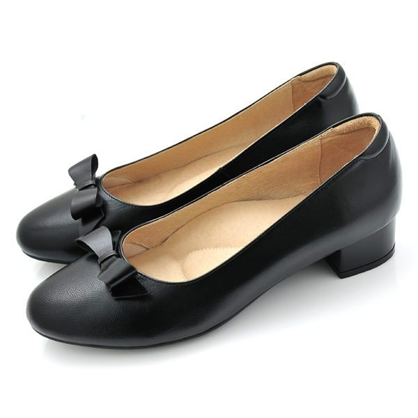 全真皮蝴蝶結粗低跟包鞋-黑色‧karine(MIT台灣製)