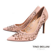 Tino Bellini 巴西進口精緻鏤空雕花藝術尖楦跟鞋 _ 粉 A83041A 歐洲進口款