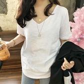 2020新款夏季上衣寬鬆正韓純棉竹節棉白色短袖t恤V領半袖女ins潮 【Ifashion·全店免運】