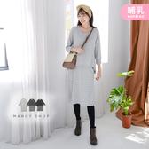 【MK0333】哺乳衣假兩件條紋彈力棉洋裝