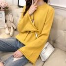 針織衫-純色簡約百搭繫帶喇叭袖女毛衣5色...