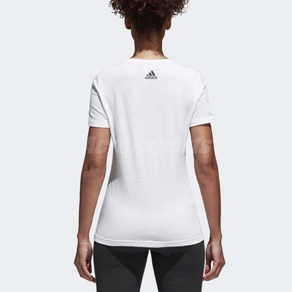 adidas T恤 Foil Linear 白 金 女款 健身 運動 圓領T 【PUMP306】 CV4567