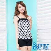 【夏之戀SUMMERLOVE】水玉點點長版二件式泳衣(S17705)