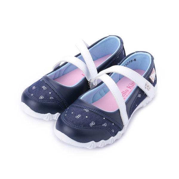 HELLO KITTY 牛仔印花娃娃鞋 藍 中大童鞋 鞋全家福