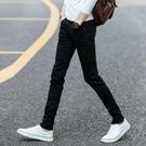 窄管褲秋季黑色彈力牛仔褲男士韓版修身青少年小腳褲潮流男裝男褲子長褲-完美