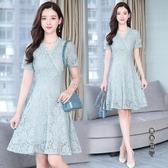 2020夏季新款女裝法式v領短袖蕾絲連身裙洋裝收腰顯瘦氣質中長款a字裙 OO9821[黑色妹妹]