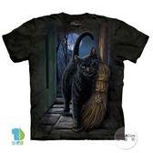 【摩達客】(預購)美國進口The Mountain 魔法掃把貓 純棉環保短袖T恤(YTM104175762088)