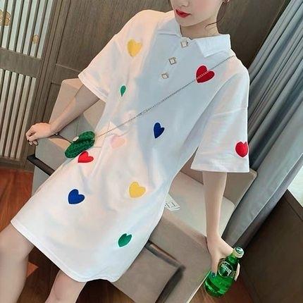 襯衫洋裝 新款夏女遮肚顯瘦t恤裙愛心刺繡寬鬆polo襯衫裙中長款連衣裙 - 風尚3C