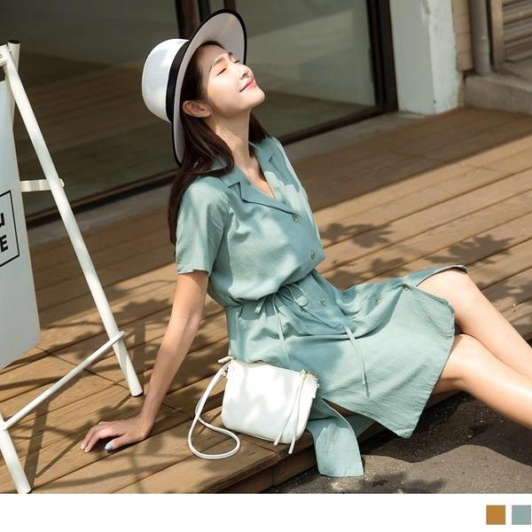《DA7942-》純色西裝領收腰綁帶排扣短袖洋裝 OB嚴選