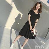 夏裝百搭赫本小黑裙修身中長款V領短袖洋裝時尚禮裙女  麥琪精品屋