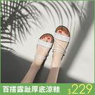 厚底拖鞋 高跟中跟楔型-夏季新款[沙灘高...