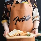 川島屋防水防油皮革圍裙家用廚房女時尚可愛北歐創意工作做飯圍裙 夢露時尚女裝