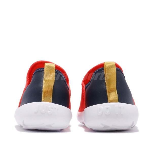 Nike 休閒鞋 Lil Swoosh TD 橘 深藍 襪套設計 無鞋帶 低筒 童鞋 小童鞋 運動鞋【ACS】 AQ3113-600