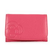 CLATHAS 山茶花壓印荔枝紋軟皮壓釦名片夾(粉紅色)200122-32