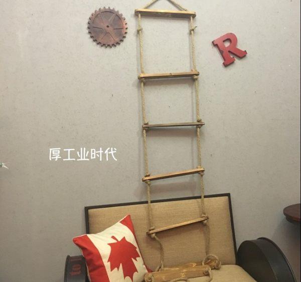[協貿國際]復古懷舊手工麻繩實木梯子壁飾1入