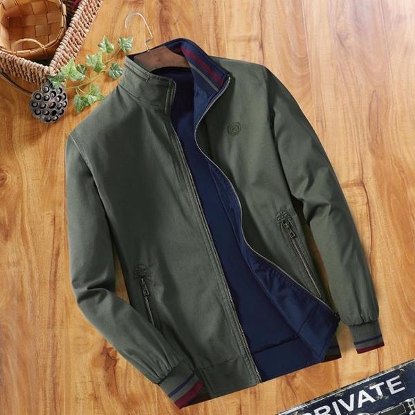 外套男 中年男士夾克春秋季立領純棉夾克衫中老年爸爸裝雙面穿薄款外套男【快速出貨】