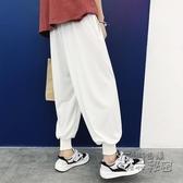 夏季中國風寬鬆薄款休閒褲男日繫復古燈籠褲束腳哈倫褲九分男褲