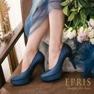 現貨 MIT小中大尺碼圓頭高跟鞋推薦 人魚公主 前高後高素面真皮舒適高跟鞋 21-26 EPRIS艾佩絲-寶石藍